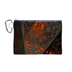 Abstract Lighted Wallpaper Of A Metal Starburst Grid With Orange Back Lighting Canvas Cosmetic Bag (m)