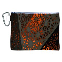 Abstract Lighted Wallpaper Of A Metal Starburst Grid With Orange Back Lighting Canvas Cosmetic Bag (xxl)
