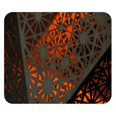 Abstract Lighted Wallpaper Of A Metal Starburst Grid With Orange Back Lighting Double Sided Flano Blanket (small)