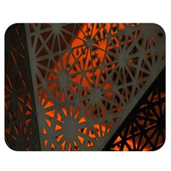 Abstract Lighted Wallpaper Of A Metal Starburst Grid With Orange Back Lighting Double Sided Flano Blanket (Medium)