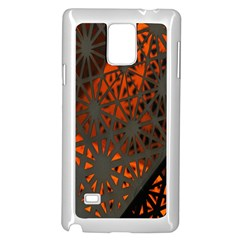 Abstract Lighted Wallpaper Of A Metal Starburst Grid With Orange Back Lighting Samsung Galaxy Note 4 Case (White)