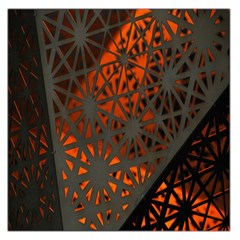 Abstract Lighted Wallpaper Of A Metal Starburst Grid With Orange Back Lighting Large Satin Scarf (Square)