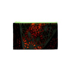 Abstract Lighted Wallpaper Of A Metal Starburst Grid With Orange Back Lighting Cosmetic Bag (XS)