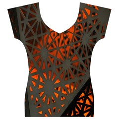 Abstract Lighted Wallpaper Of A Metal Starburst Grid With Orange Back Lighting Women s V-Neck Cap Sleeve Top
