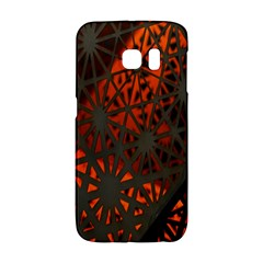 Abstract Lighted Wallpaper Of A Metal Starburst Grid With Orange Back Lighting Galaxy S6 Edge