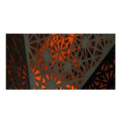 Abstract Lighted Wallpaper Of A Metal Starburst Grid With Orange Back Lighting Satin Shawl