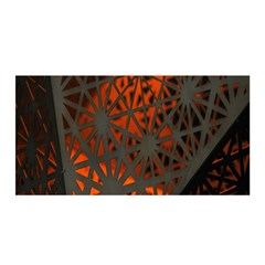 Abstract Lighted Wallpaper Of A Metal Starburst Grid With Orange Back Lighting Satin Wrap