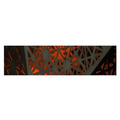 Abstract Lighted Wallpaper Of A Metal Starburst Grid With Orange Back Lighting Satin Scarf (Oblong)