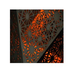 Abstract Lighted Wallpaper Of A Metal Starburst Grid With Orange Back Lighting Small Satin Scarf (Square)