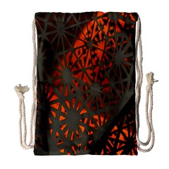 Abstract Lighted Wallpaper Of A Metal Starburst Grid With Orange Back Lighting Drawstring Bag (Large)