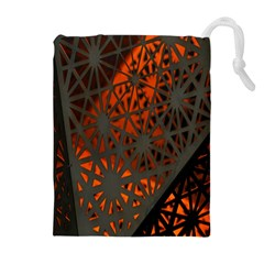 Abstract Lighted Wallpaper Of A Metal Starburst Grid With Orange Back Lighting Drawstring Pouches (Extra Large)