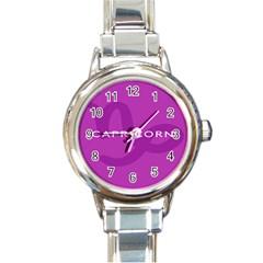 Zodiac Capricorn Purple Round Italian Charm Watch