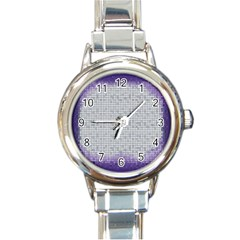 Purple Square Frame With Mosaic Pattern Round Italian Charm Watch