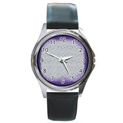 Purple Square Frame With Mosaic Pattern Round Metal Watch