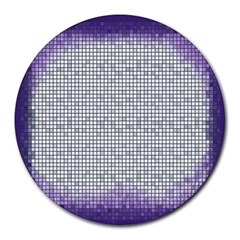 Purple Square Frame With Mosaic Pattern Round Mousepads