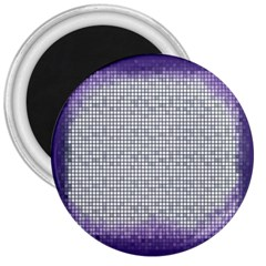 Purple Square Frame With Mosaic Pattern 3  Magnets