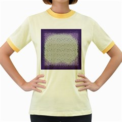 Purple Square Frame With Mosaic Pattern Women s Fitted Ringer T Shirts