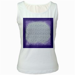 Purple Square Frame With Mosaic Pattern Women s White Tank Top