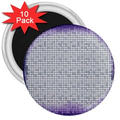 Purple Square Frame With Mosaic Pattern 3  Magnets (10 pack)