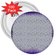Purple Square Frame With Mosaic Pattern 3  Buttons (100 pack)