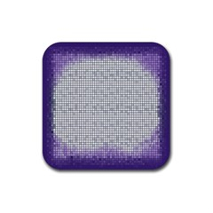 Purple Square Frame With Mosaic Pattern Rubber Square Coaster (4 Pack)