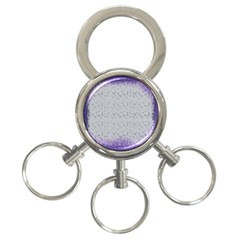 Purple Square Frame With Mosaic Pattern 3 Ring Key Chains