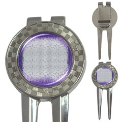 Purple Square Frame With Mosaic Pattern 3 In 1 Golf Divots