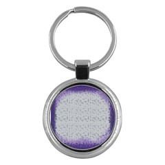 Purple Square Frame With Mosaic Pattern Key Chains (Round)