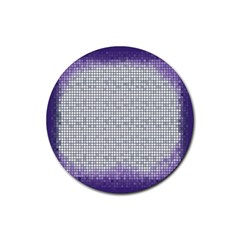 Purple Square Frame With Mosaic Pattern Rubber Coaster (Round)