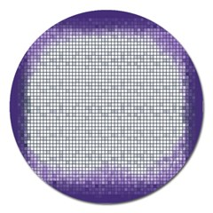 Purple Square Frame With Mosaic Pattern Magnet 5  (Round)