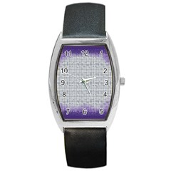 Purple Square Frame With Mosaic Pattern Barrel Style Metal Watch