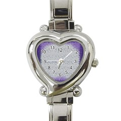 Purple Square Frame With Mosaic Pattern Heart Italian Charm Watch