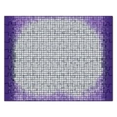 Purple Square Frame With Mosaic Pattern Rectangular Jigsaw Puzzl