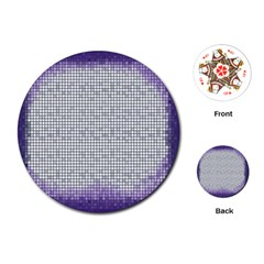 Purple Square Frame With Mosaic Pattern Playing Cards (round)