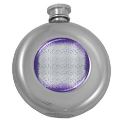 Purple Square Frame With Mosaic Pattern Round Hip Flask (5 Oz)