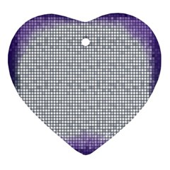 Purple Square Frame With Mosaic Pattern Heart Ornament (Two Sides)