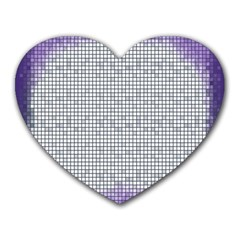 Purple Square Frame With Mosaic Pattern Heart Mousepads