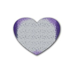 Purple Square Frame With Mosaic Pattern Rubber Coaster (Heart)