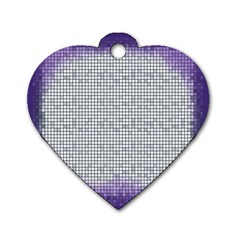 Purple Square Frame With Mosaic Pattern Dog Tag Heart (one Side)