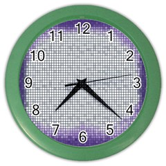 Purple Square Frame With Mosaic Pattern Color Wall Clocks