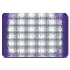 Purple Square Frame With Mosaic Pattern Large Doormat