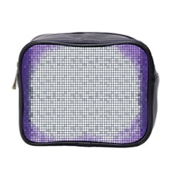 Purple Square Frame With Mosaic Pattern Mini Toiletries Bag 2 Side
