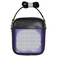 Purple Square Frame With Mosaic Pattern Girls Sling Bags