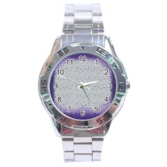 Purple Square Frame With Mosaic Pattern Stainless Steel Analogue Watch
