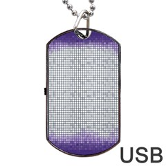 Purple Square Frame With Mosaic Pattern Dog Tag USB Flash (Two Sides)
