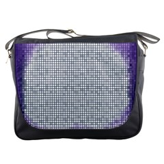 Purple Square Frame With Mosaic Pattern Messenger Bags