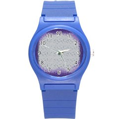 Purple Square Frame With Mosaic Pattern Round Plastic Sport Watch (s)