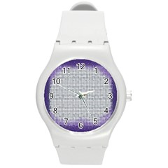 Purple Square Frame With Mosaic Pattern Round Plastic Sport Watch (M)