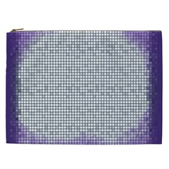 Purple Square Frame With Mosaic Pattern Cosmetic Bag (XXL)