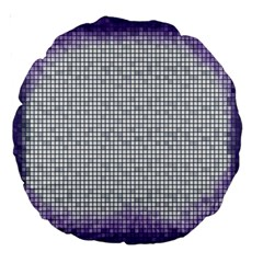 Purple Square Frame With Mosaic Pattern Large 18  Premium Round Cushions